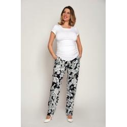 Letné tehotenské nohavice čierno-biele