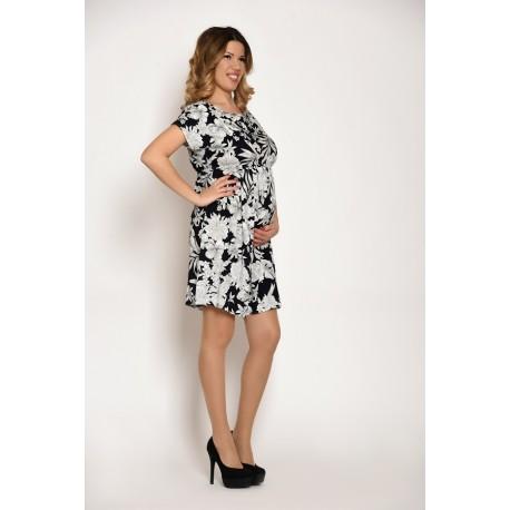 Letné tehotenské šaty čierno-biele