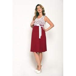 Tehotenské šaty malinové s bielou čipkou