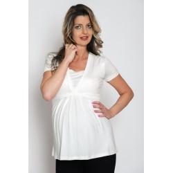 Tehotenské tričko s krátkym rukávom - ecru