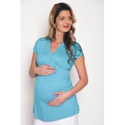 Tehotenské tričko tyrkysové
