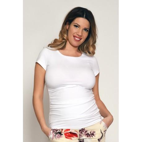 Tehotenské tričko s krátkym rukávom - biele