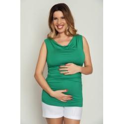 Tehotenské tričko bez rukávov - zelené