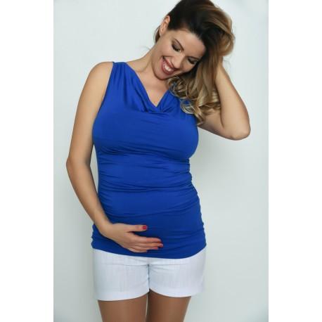 Tehotenské tričko bez rukávov - modré