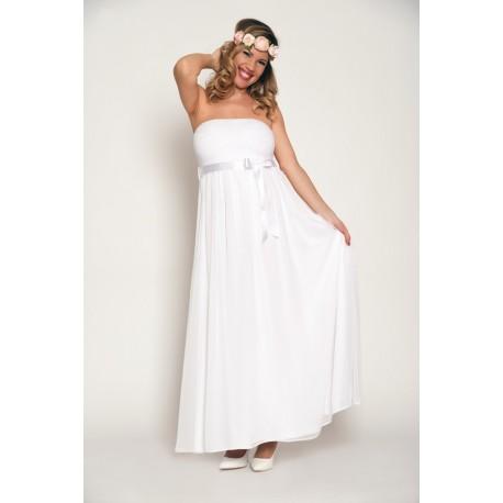 Dlhé tehotenské svadobné šaty - biele