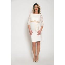 Tehotenské svadobné šaty Silvia - ecru