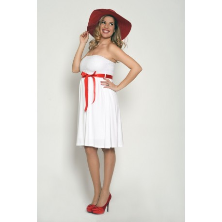 Tehotenské svadobné šaty bez rukávov - biele