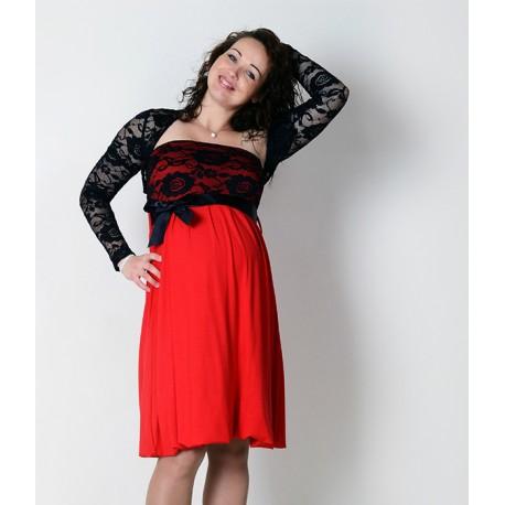 Tehotenské spoločenské šaty s bolerkou