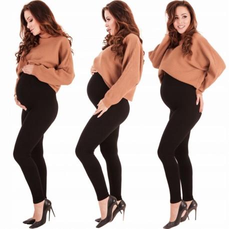 Zateplené tehotenské legíny - čierne