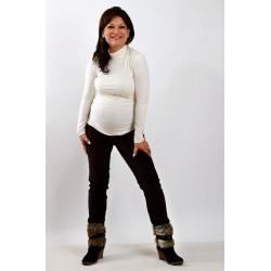Tehotenské menžestrové nohavice tmavohnedé