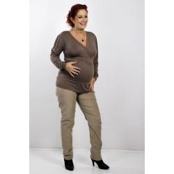 Tehotenské menžestrové nohavice hnedé