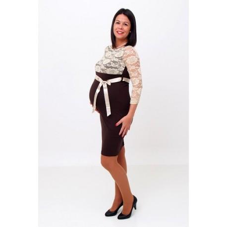Hnedé/béžové tehotenské šaty s čipkou