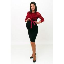 Tehotenské šaty s čipkou - čierne/vínové