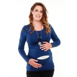 Tehotenské tričko s potlačou - tmavomodré