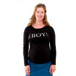 Tehotenské tričko s potlačou It´s a Boy! - čierne