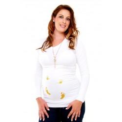 Tehotenské tričko s potlačou - biele a čierne