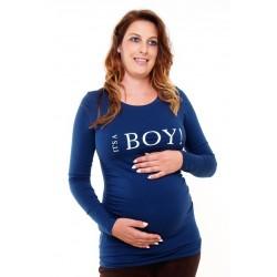 Tehotenské tričko s potlačou It´s a Boy! - tmavomodré