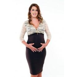 Tehotenské šaty s čipkou - tmavohnedé