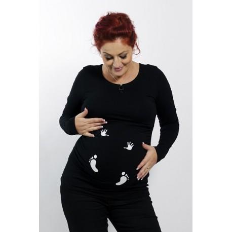 Tehotenské tričko s potlačou nožičky a ručičky