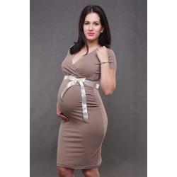 Tehotenské šaty svetlohnedé
