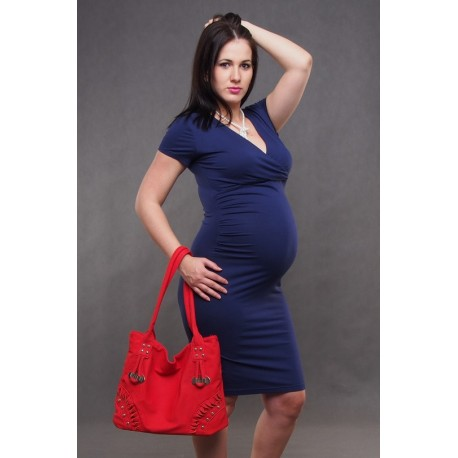 Tehotenské šaty tmavomodré